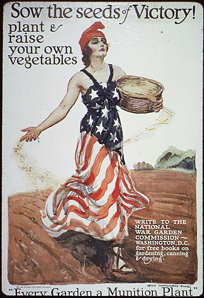 "A woman wearing a sleeveless sun dress patterned after the U.S. flag (stars on the bodice, red and white stripes on the skirt) carelessly tosses seeds on a plowed field in this WWI advertising poster. The poster reads ""Sow the seeds of victory! Plant and raise your own vegetables"""