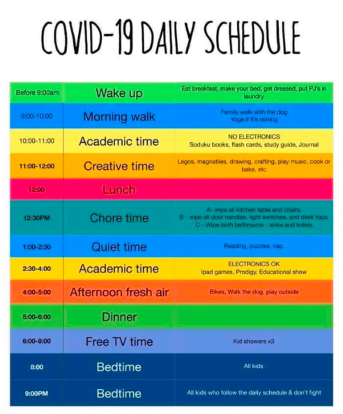 Jessica McHale's Covid-19 Daily Schedule is a color-coded chart with plans for every hour of the day from 9 a.m. to 9 p.m. It includes a morning walk, academic blocks, creative blocks, chores, quiet time, and outside play time.