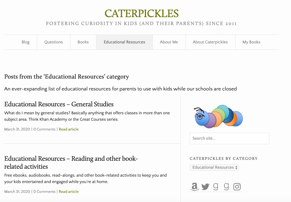 Screen capture of the Caterpickles Educational Resources page.