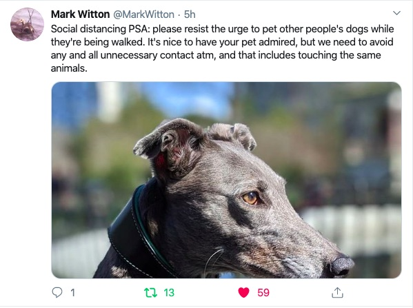 "Tweet from @MarkWitton reads: ""Social distancing PSA: Please resist the urge to pet other people's dogs while they're being walked. It's nice to have your pet admired, but we need to avoid any and all unnecessary contact atm, and that includes touching the same animals."""