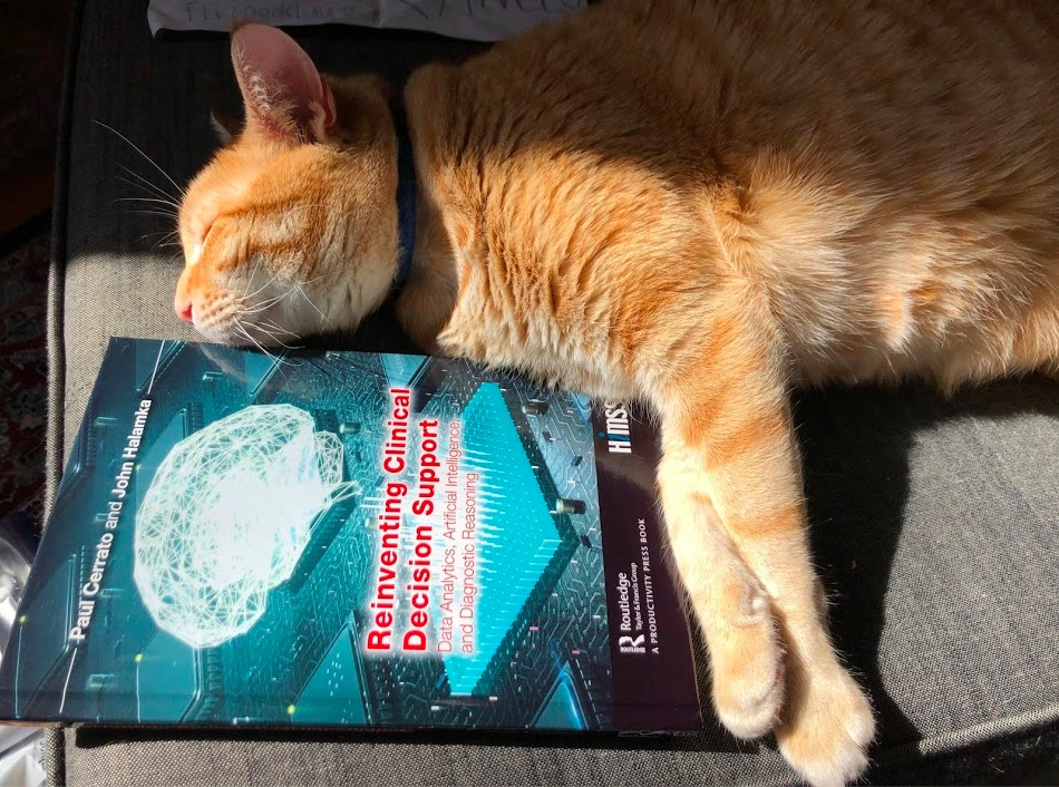 Orange cat sunbathing next to a copy of Paul Cerrato and John Halamka's book: Reinventing Clinical Decision Support.