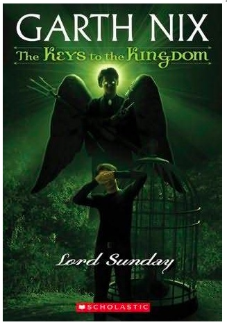 Book cover for Lord Sunday shows a young boy hiding his eyes while standing in front of a bird cage behind which a winged figure looms. All on a green background of course, because Lord Sunday rules over a garden.