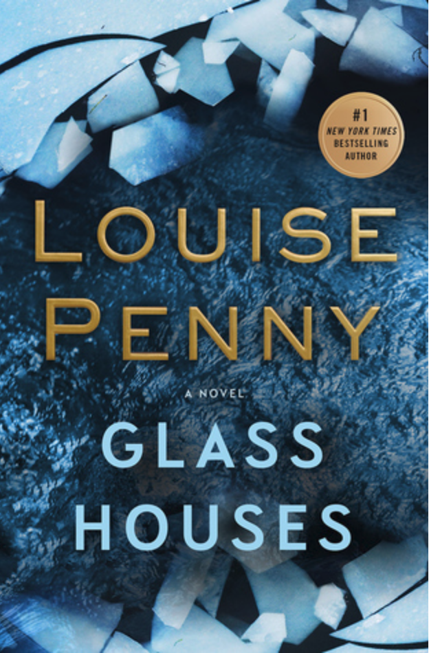 Book cover for Louise Penny's Glass Houses shows an extreme close-up of a shattered glass window on an icy blue background.