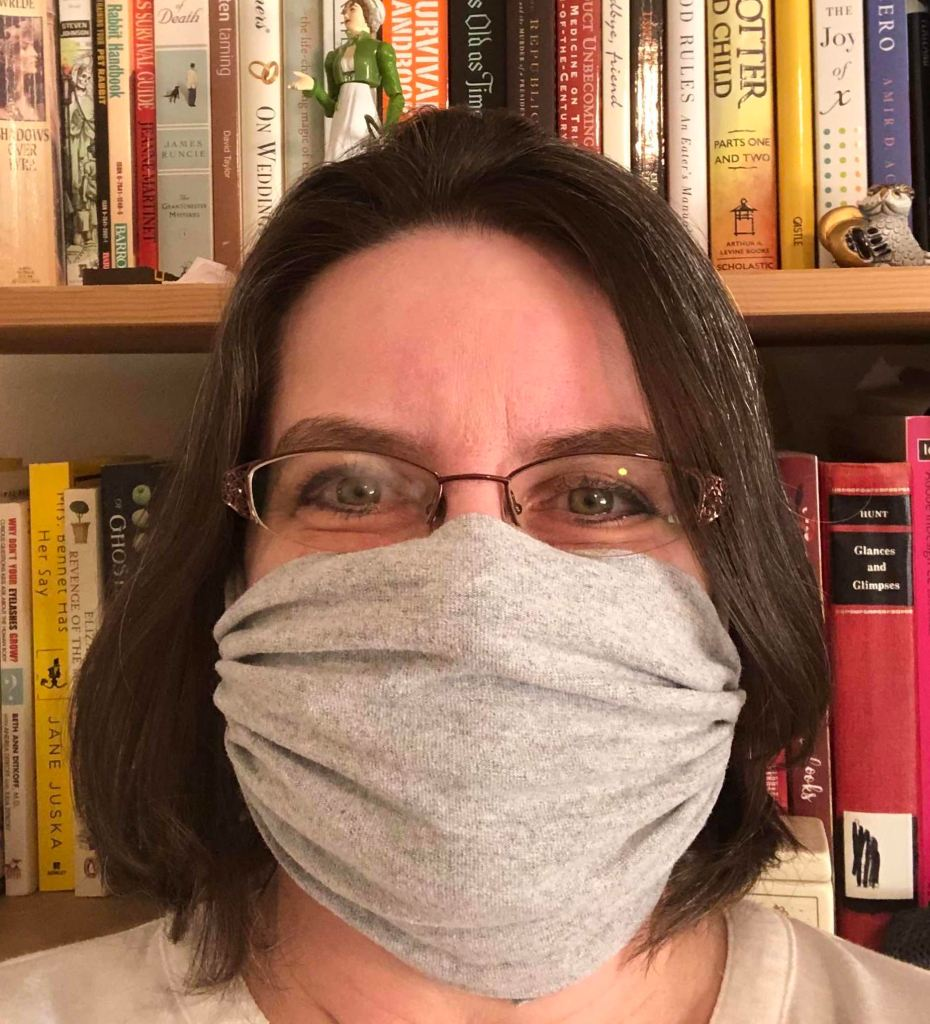 Photo of me wearing my grey t-shirt mask.