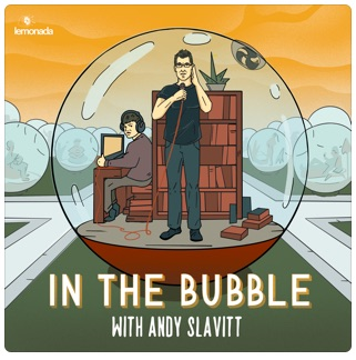 Cartoon image shows Andy Slavitt on the phone and his son Zach working the computer as they record their podcast from within a glass bubble. Behind them are lots of other bubbles representing other families in America  doing their best to weather this pandemic.