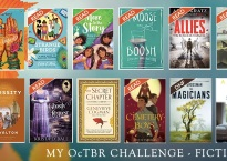 A collage of the books I planned to read in October, with the books I've read so far flagged. The next paragraph of the post lists them, so I won't list them here. No need to make you list to that twice.