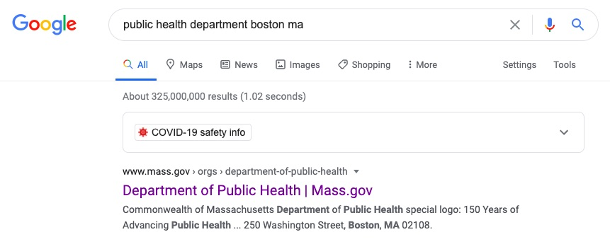 List of search results from the Google search engine. The Department of Public Health Mass.gov appears at the top of the list.
