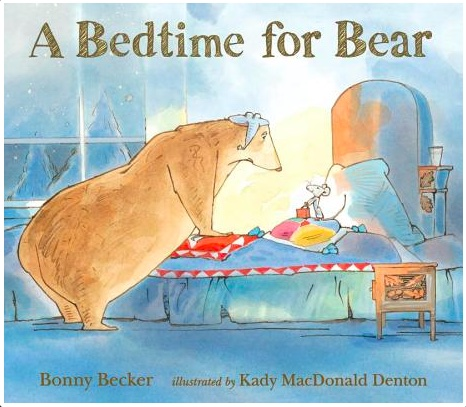 Cover for bedtime for bear shows a large bear hovering in irritation over a bed which has a mouse in it