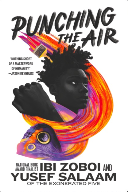 Book cover for Punching the Air shows a swirl of orange, red, and purple around a black teenage boy's head and fist.