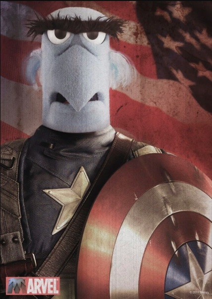 Poster shows Sam the Eagle dressed as Captain America against an American flag in the background