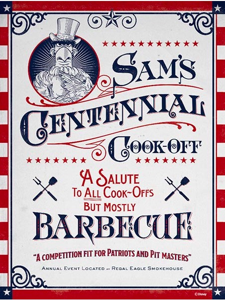 "Poster for ""Sam's Centennial Cook-off. A Salute to all cook-offs, but mostly barbecue. A Competition fit for patriots and pit masters"". Poster is done in red white and blue of course."