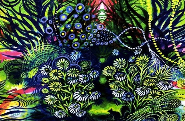 Snippet of Carrie Lederer's Lost in my abstract garden is a swirl of purples and green in various floral shapes.