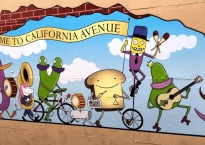 Mural of a marching band consisting of a variety of foods playing various instruments. The mural reads Welcome to California Avenue.