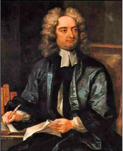 Portrait of Jonathan Swift shows the author with a glorious lambs' wool wig, white neckcloth, black vest, and blue-black coat seated at a table with a quill pen in his hand. He's writing of course, and has only stopped long enough to greet you somewhat imperiously.