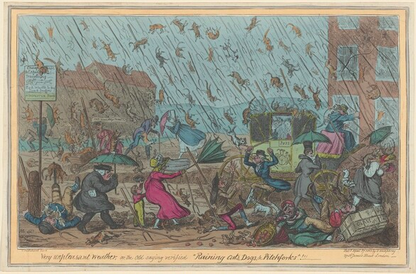 four color ink drawing of people dressed in old fashioned clothing battling with cats and dogs and rain falling from the sky
