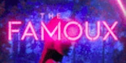 A slice of the book cover for the Famoux, showing the book title and the head of the blonde woman in front of stage lights.