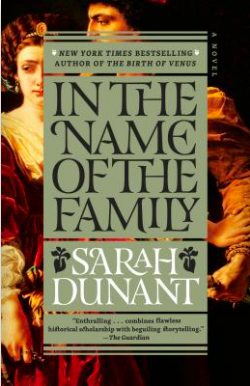 The book cover for In the Name of the Family uses a portrait of Lucrezia Borgia as the backdrop for the book title and author's name.