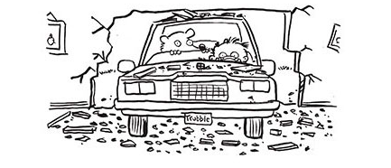 Image shows Timmy Failure and his Polar bear in the car which Timmy has just driven through the wall of the wrong neighbor's house.