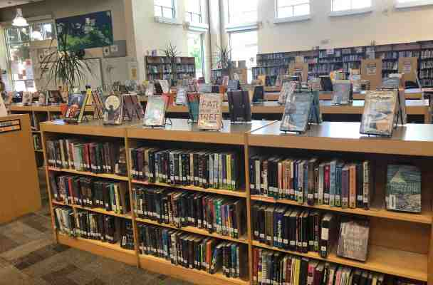 Photo of the interior of a middle school library, showing the fiction stacks.